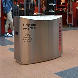 rvs afvalbakken winkelcentrum